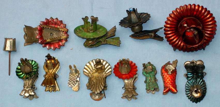 antique christmas ornaments and vintage christmas metal candle holders