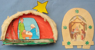 These two and the next two are nativity scenes made by children in school. We think they date from the 1950s. Two have the children's names on them.Here the first one is made by Gino.
