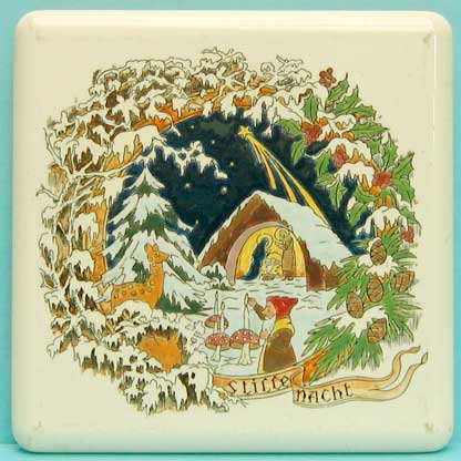 "Porcelain coaster 17 x 17 cm; signed on the back ""H  Made in Belgium"""